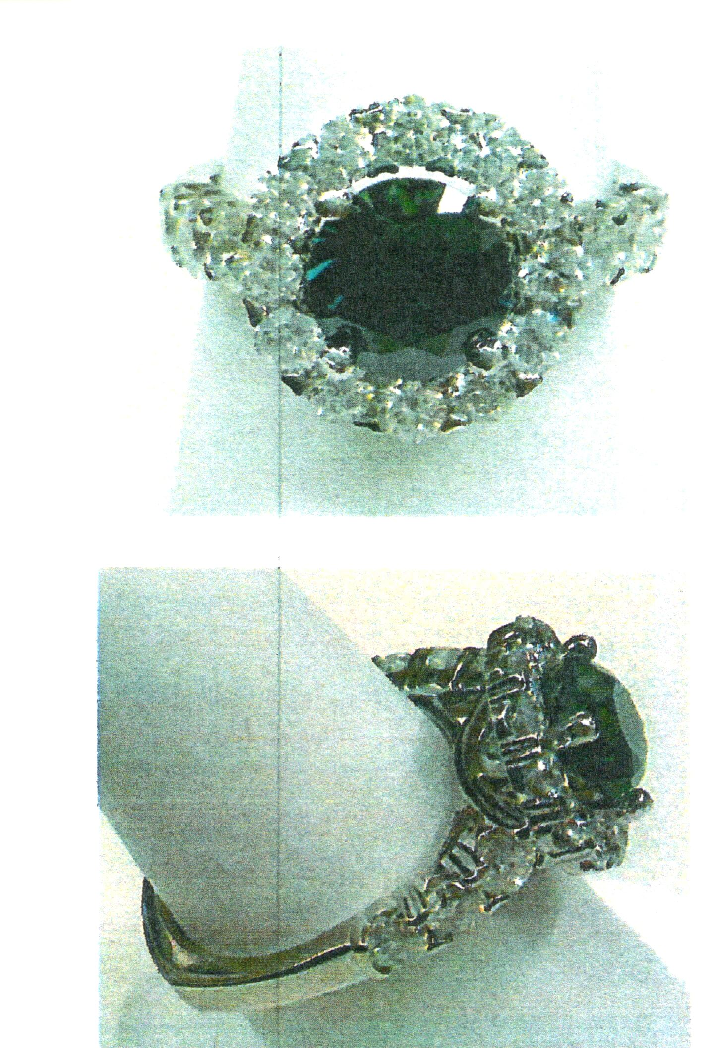 287012f84 14kt white gold ring, size 6.5, trademark CARO74, 2.25ct green sapphire, 12  diamonds total 0.91ct. (Photo)