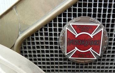 Upclose image of the Fire badge on a truck grill