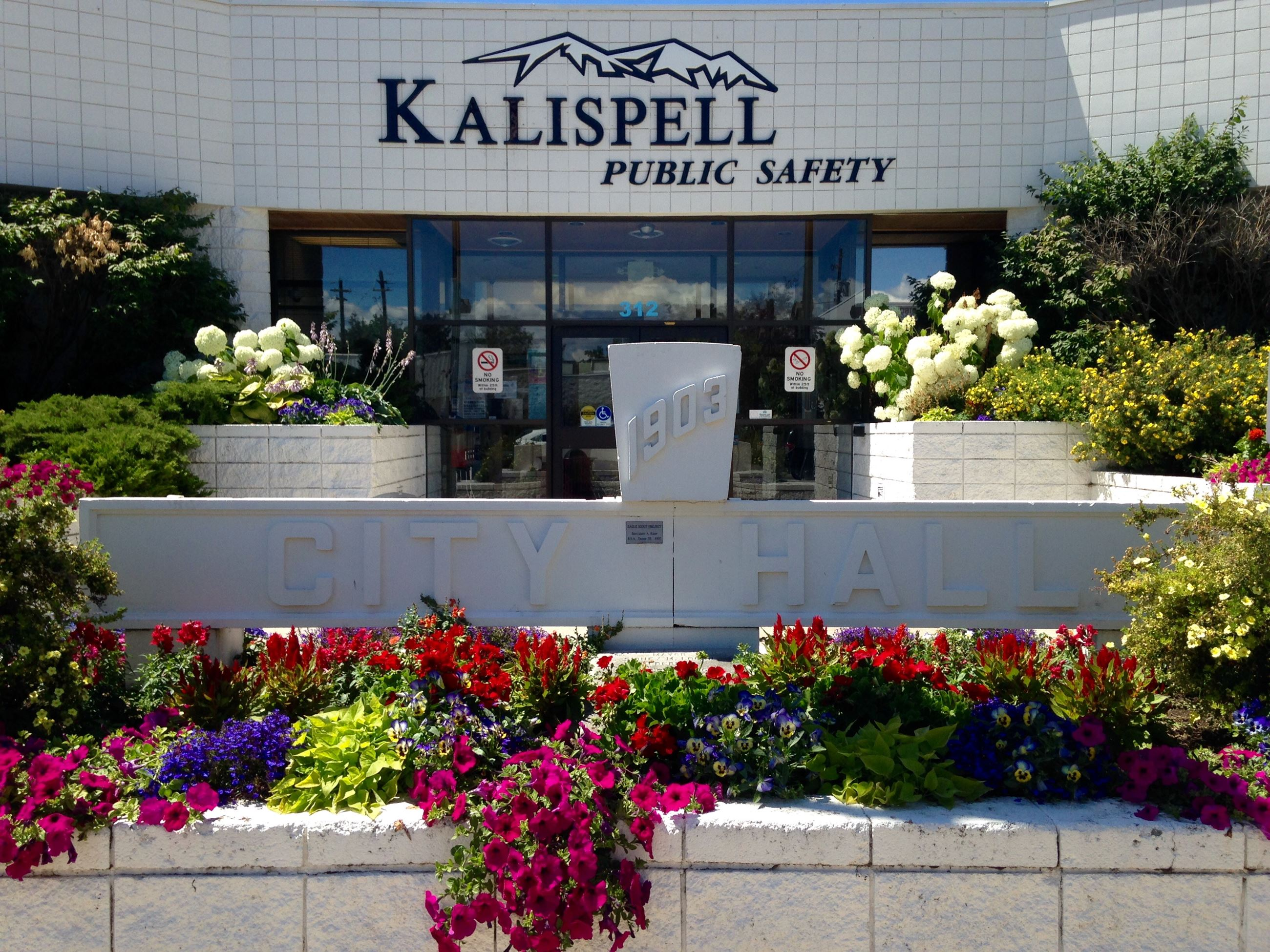 Public Safety Building with flowers